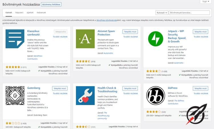 WordPress plugin tárhely